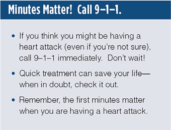 Text box that says: 'Minutes Matter. Call 9-1-1. Lists 3 bullets: 1. If you think you might be having a heart attack (even if you're not sure), call 9-1-1 immediately. Don't wait. 2. Quick treatment can save your life--when in doubt, check it out. 3. Remember, the first minutes matter when you are having a heart attack.'