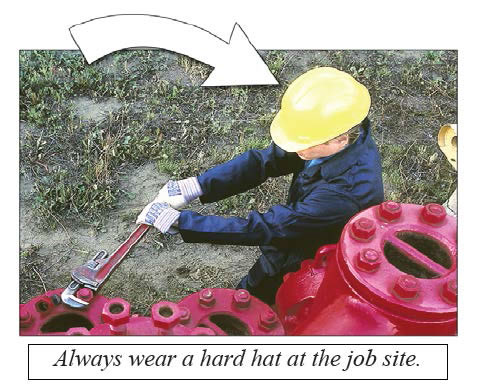 Photo of landscape worker with caption, 'Always wear a hard hat at the job site.' For emphasis, a large arrow is pointing to the hard hat.