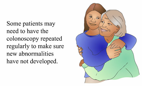 Drawing of two women hugging next to text about needing to repeat a colonoscopy.