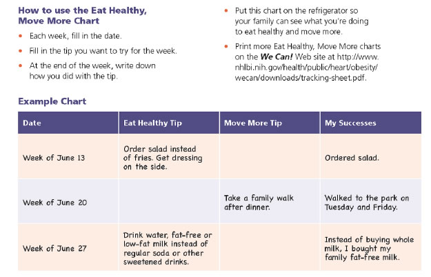 Instructions of how to use the Eat Healthy Move More chart with bullets on filling out the chart ands an example of a completed chart that shows date, eat healthy tip, move more tip, and my successes.