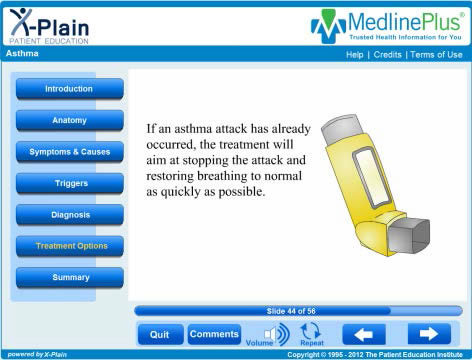 Screenshot of a MedlinePlus Web page showing an asthma inhaler.