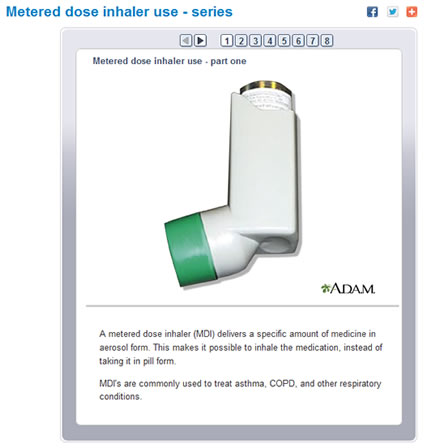 Screenshot of Medline Plus Web page showing a metered dose inhaler with description of its use.
