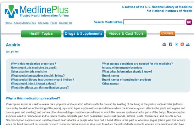Screenshot of a MedlinePlus Web page on aspirin.