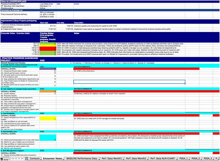Screenshot of an Excel workbook showing practice name, sample exemplar, improvement projects participating, and performance scores.