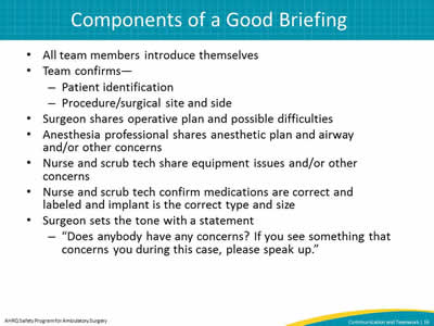 Components of a Good Briefing