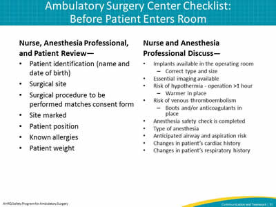 Ambulatory Surgery Center Checklist: Before Patient Enters Room