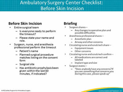 Ambulatory Surgery Center Checklist: Before Skin Incision