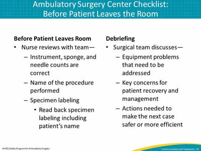 Ambulatory Surgery Center Checklist: Before Patient Leaves the Room