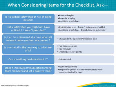 When Considering Items for the Checklist, Ask