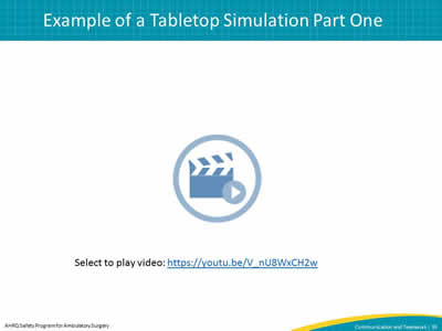 Example of a Tabletop Simulation Part One