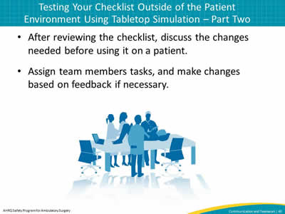 After reviewing the checklist, discuss the changes needed before using it on a patient. Assign team members tasks, and make changes based on feedback if necessary.