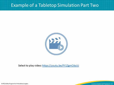 Example of a Tabletop Simulation Part Two