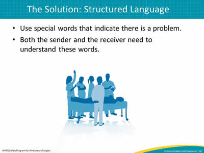Use special words that indicate there is a problem. Both the sender and the receiver need to understand these words.