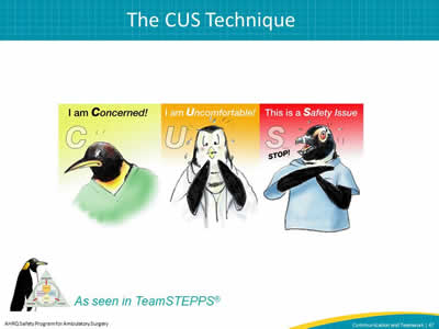 """CUS"" stands for I am concerned, I am uncomfortable, This is a safety issue and TeamSTEPPS logo"
