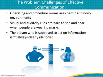 Operating and procedure rooms are chaotic and noisy environments. Visual and auditory cues are hard to see and hear when people are wearing masks. The person who is supposed to act on information isn't always clearly identified.