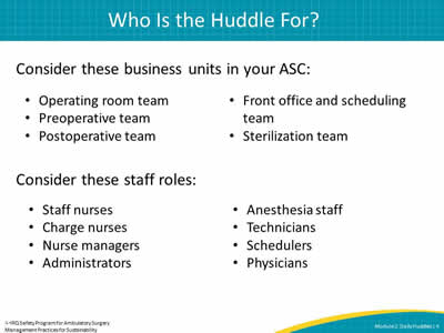 Module 2: Daily Huddles - Facilitator Notes | Agency for Healthcare ...