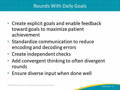 Daily Goals During Interdisciplinary Rounds: Slide
