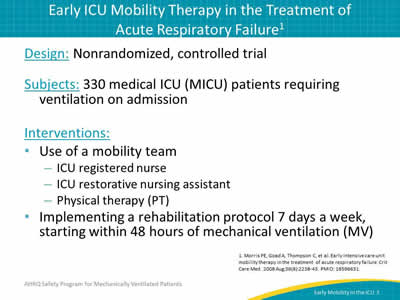 early mobilization protocol in a trauma Learn how early mobility, with customized sedation regimens, may reduce  delirium  of function comparable to traumatic brain injury or even mild  alzheimer's disease17  implementing early mobility protocols in the icu can be  challenging.
