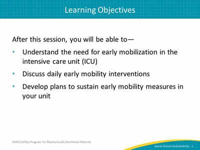 Nurse Driven Early Mobility Protocols Facilitator Guide Agency