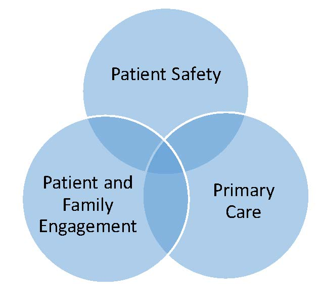 Figure 1. Conceptualization of Evidence. Venn diagram showing the intersection of patient safety, primary care, and patient and family engagement.