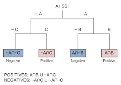Figure 1: Classification tree algorithm identification – shows the algorithm used to identify positive values through compact logic in this project to develop an automated surveillance tool for surgical site infections.