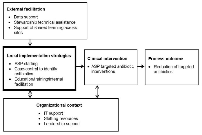 This figure is an algorithm that represents the factors that were considered in implementing an antimicrobial stewardship program as part of this project. These were external facilitation, local implementation strategies, clinical intervention, process outcome, and organizational context.