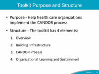 Toolkit Purpose and Structure: Purpose - Help health care organizations implement the CANDOR process, Structure - The toolkit has 4 elements: 1. Overview, 2. Building Infrastructure, 3.CANDOR Process, 4.Organizational Learning and Sustainment.