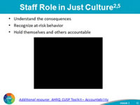 Staff Role in Just Culture: Understand the consequences Recognize at-risk behavior Hold themselves and others accountable. Image of Video clip. Additional resource: AHRQ CUSP Toolkit – Accountability.