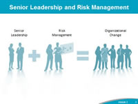 Senior Leadership and Risk Management: Image shows two people labled 'Senior Leadership' with a plus sign and two people labeled 'Risk Management' leading to an equal sign with a group of people labeled 'Organizational Change'.