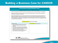 Building a Business Case for CANDOR: Presenting the business case for CANDOR is another strategy to help leaders clearly see the value of a program and how implementation will support the organization's patient safety and quality goals. Every organization must be able to justify the use of human and material resources needed to implement a new program. Leaders must be able to understand how success (or failure) will be measured in order to support the people, time, and actions requested to achieve the desired outcomes. The key elements of a business case include all the essential information to help leaders understand how the resources and processes of CANDOR support the organization's patient safety and quality goals. By helping leaders understand these connections, the leaders are better prepared to commit resources and people and to support successful CANDOR implementation and sustainment.  The Building the Business Case for CANDOR worksheet can help leaders and teams develop an individualized business case for implementing CANDOR in the organization. Helping leaders understand how to connect the CANDOR Process with the organization's safety and quality priorities can enhance their buy-in and support for CANDOR implementation.