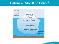 Define a CANDOR Event: A CANDOR event is defined as an event that involves unexpected harm (physical, emotional, financial) to a patient. These events trigger the CANDOR process even when causation is not yet known. It is important for an organization to use this definition as a starting point for how they will define a CANDOR event within their organization. The best practice for implementation of the CANDOR process in an organization is to tie this definition to the organization's current harm rating system. During the initial launch of CANDOR at the pilot organizations, some organizations have found that limiting the definition of a CANDOR event so that the trigger for the CANDOR process was linked to only the more serious events allowed an organization to gradually build support for the new process. As the culture begins to change, then organization can start to expand the definition of a CANDOR event, thereby triggering the process for events of varying degrees of severity.