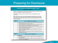 Preparing for Disclosure. Because of its significance in the CANDOR process, communication requires targeted training and skill development, especially when communicating with patients, families and caregivers involved in a harm event. The Disclosure Checklist is a reference tool that provides Disclosure Leads and staff with the basic principles of disclosure after an adverse event. The organization can prepare staff by using this tool to review the intent and purpose of the disclosure conversation and to remind staff of key listening and empathy skills. This checklist can be used: 1. To help Disclosure Leads prepare and coach staff who have the communication skills needed to conduct effective initial disclosure; and 2. To help prepare for disclosure during follow-up conversations, including after the Event Investigation and Analysis has been conducted. This tool provides guidance regarding the facts to be presented, and how to effectively communicate an apology, acknowledge responsibility, and close the discussion.