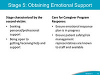 Stage 5: Obtaining Emotional Support. Stage characterized by the second-victim: Seeking personal/professional support. Being open to getting/receiving help and support. Care for Caregiver Program Response: Ensure emotional response plan is in progress. Ensure patient safety/risk management representatives are known to staff and available.