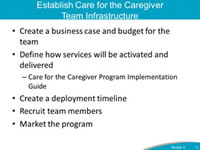 Establish Care for the Caregiver Team Infrastructure Create a business case and budget for the team. Define how services will be activated and delivered. Care for the Caregiver Program Implementation Guide. Create a deployment timeline. Recruit team members. Market the program.
