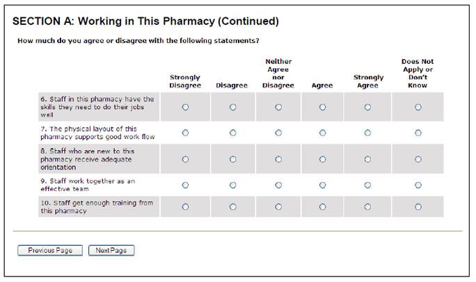 Screen shot of the Section A: Working in This Pharmacy survey form continued.