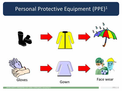 infection and protective personal equipment References: department of homeland security guide 102-06, guide for the selection of personal protective equipment for emergency first responders, (pdf - 695 mb) (dhs, january 2007.