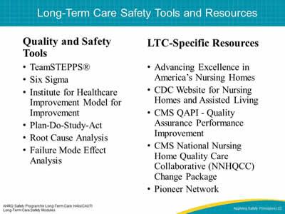Module 1 Using the prehensive Long Term Care Safety Modules