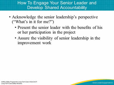 How To Engage Your Senior Leader and Develop Shared Accountability