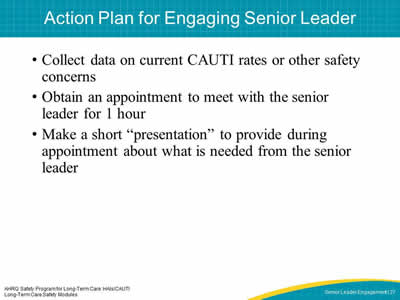 Action Plan for Engaging Senior Leader
