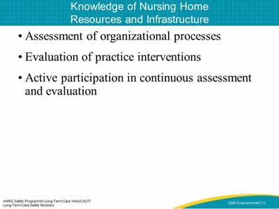 Knowledge of Nursing Home Resources and Infrastructure