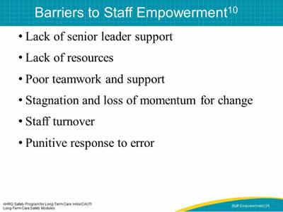 Barriers to Staff Empowerment