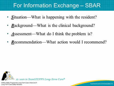 For Information Exchange – SBAR