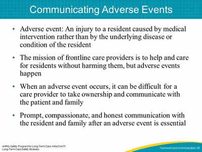 Communicating Adverse Events