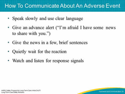 How To Communicate About An Adverse Event
