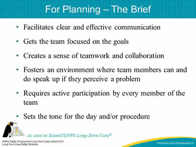 For Planning – The Brief