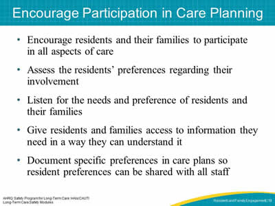 Encourage Participation in Care Planning
