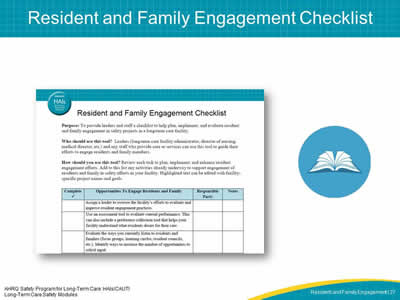 Resident and Family Engagement Checklist