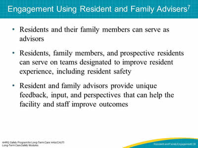 Engagement Using Resident and Family Advisers