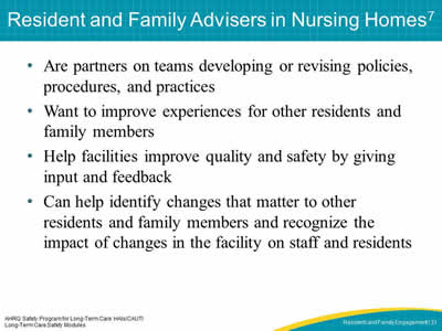 Resident and Family Advisers in Nursing Homes