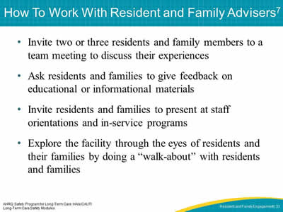 How To Work With Resident and Family Advisers
